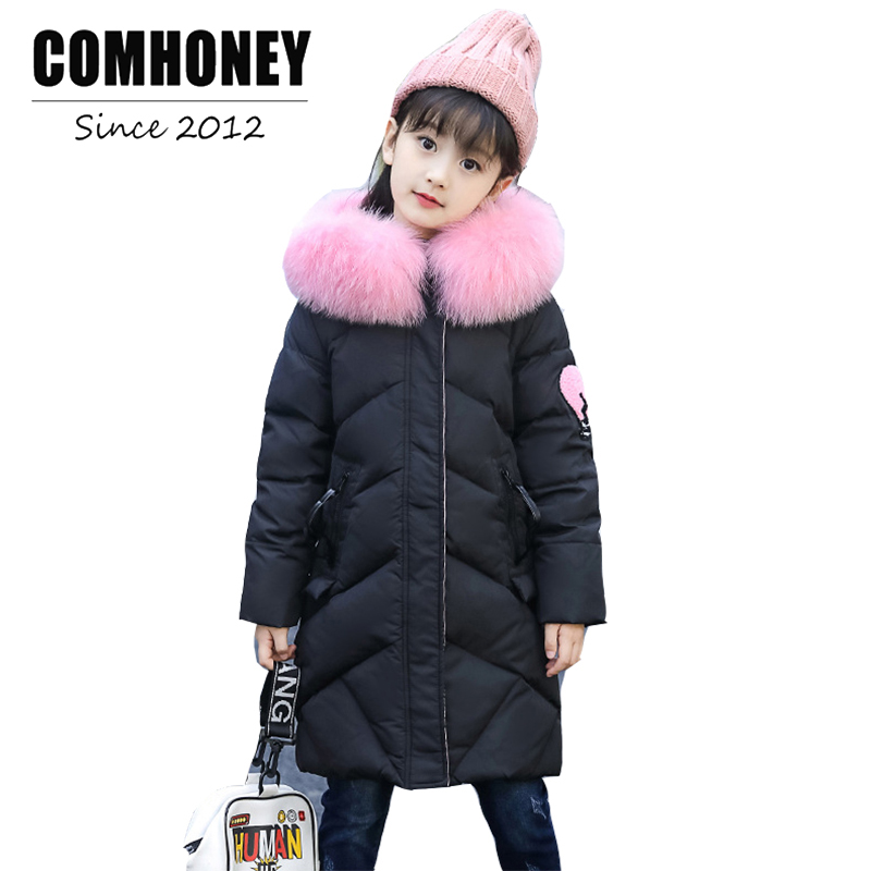 Girls Winter Jacket For Children Thick Duck Down Coat 4-14T Baby Warn Parka Outwear Faux Fur Collar Hooded Kids Outerwear 2017 buenos ninos thick winter children jackets girls boys coats hooded raccoon fur collar kids outerwear duck down padded snowsuit