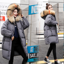 Fashion Raccoon Fur big fur collar winter down jacket woman hooded long thick fashion simple cold warm cotton clothing