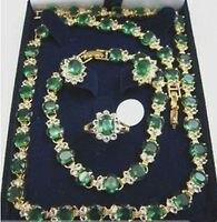 Красивая изумрудное ожерелье серьги браслета кольцо > * 18 К позолоченные часы оптовая продажа кварцевые камень CZ кристалл