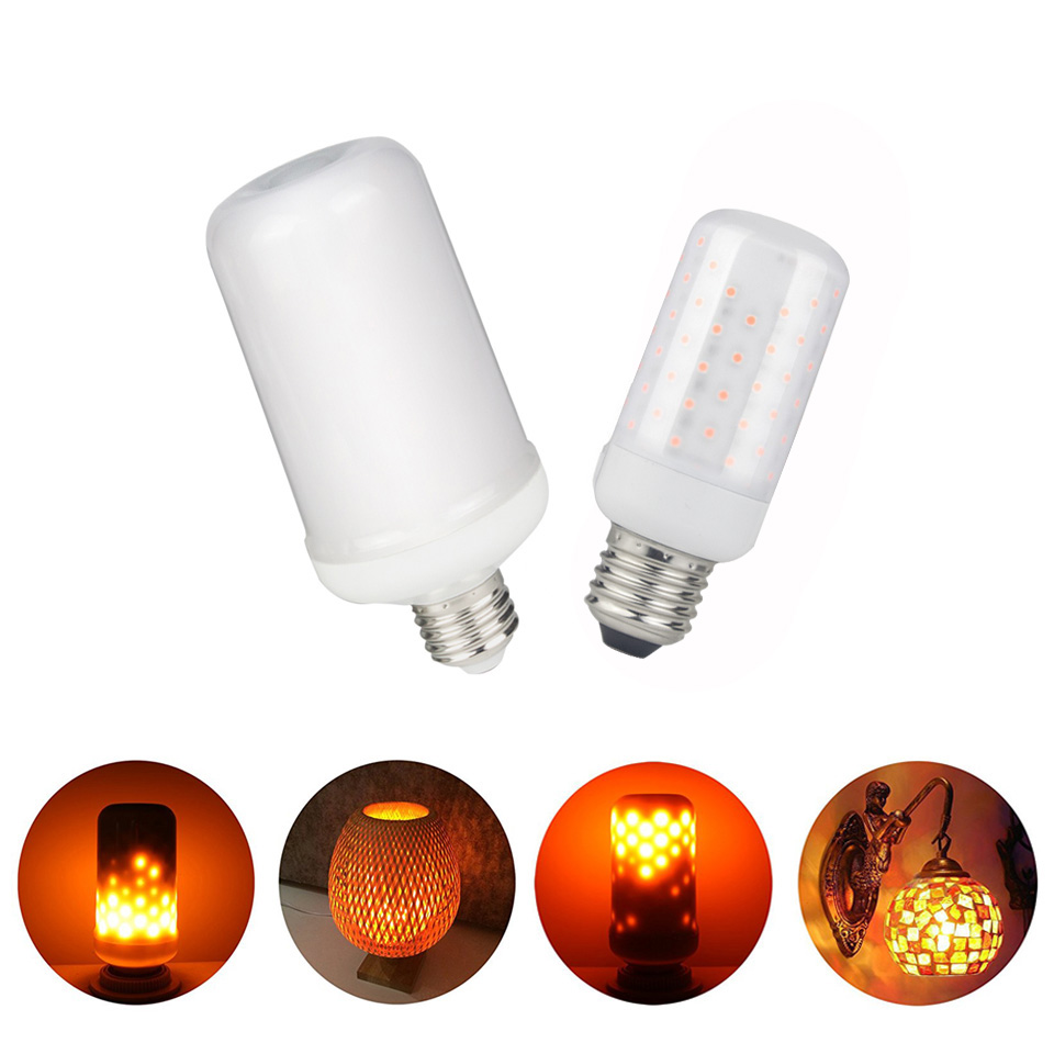 E27 LED 110V 220V Flame Lamp LED Flame Effect Light Bulb Flickering Emulation 3 Modes Novelty Night Lights Corn bulb Holiday Dec
