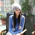 Hot Selling Real Rabbit Fur Knitted Hat Natural Fur Bomber Hat Pure Color Women Winter Warm Ear Cap MS-18