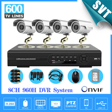 8ch 960h cctv video surveillance safety system with 4pcs out of doors digital camera dvr equipment for house monitoring 8ch with HDD 1TB SK-119