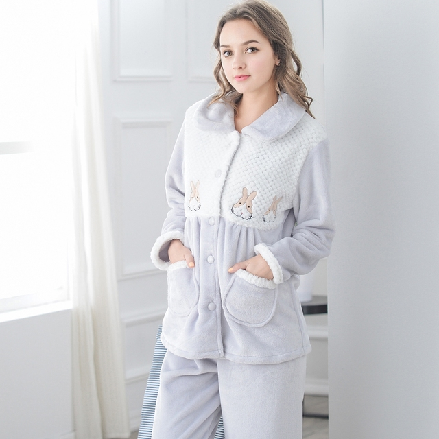 1dae213d1c16 Coral Fleece Sleepwear Women s Long-sleeve Autumn And Winter Cartoon  Cardigan Flannel Thickening Plus Size Lounge Pijama