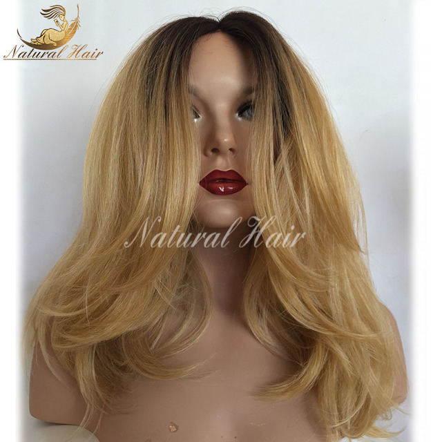 a7f342b2a New Pre Plucked Honey Blonde Full Lace Wig Dark Roots Virgin Brazilian Wave  Lace Front Wig