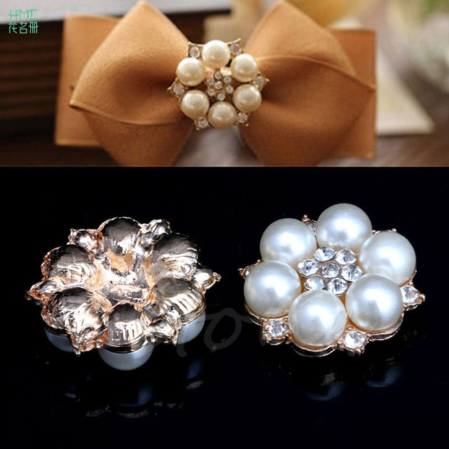 5pcs bag 2.3x2.3cm Craft Pearl Crystal Rhinestone Buttons Flower Round  Cluster Flatback Wedding Embellishment Jewelry Craft 6cfb7ca9af77