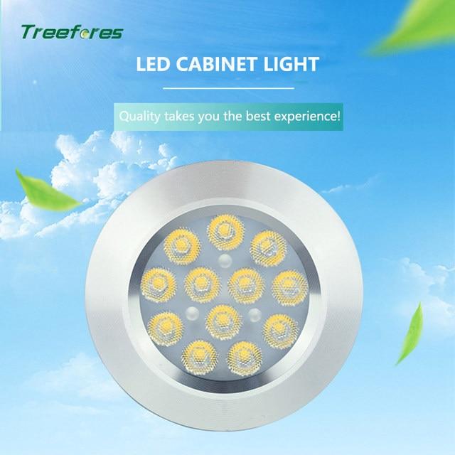 6 PCS DC 12V 3W Conceal Installation LED Under Cabinet Lights High Lens Surface Round Kitchen Counter Shelf Lamp