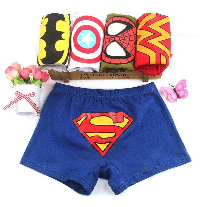 5Pcs/Set The Avengers Batman Superman Spiderman Captain America Cotton Cartoon Underwears For Children Boys