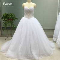 Real Image Pretty Ball Gown Wedding Dresses 2017 Sweetheart Pearls Sheer Part White Wedding Bridal Dresses
