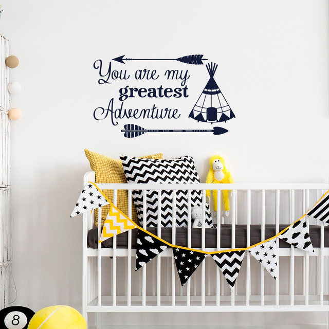 Arrow Wall Decal Quote You Are My Greatest Adventure Vinyl Stickers Nursery Sayings Baby Kids