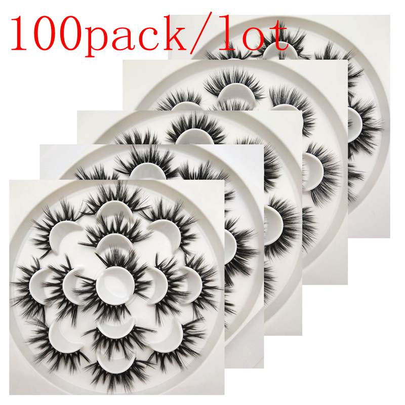 Buzzme H style 100 pack/lot 3D faux mink lashes natural long false eyelashes dramatic volume fake lashes makeup eyelash