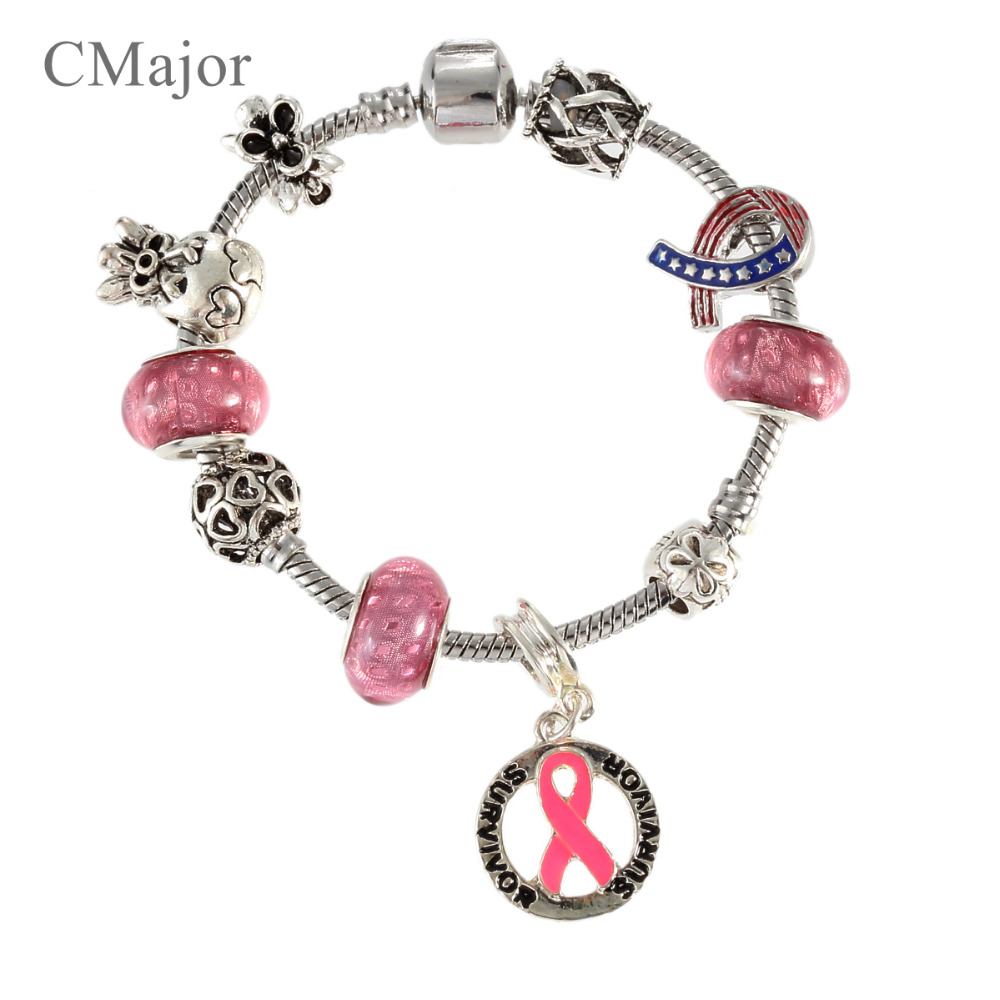 Cmajor Breast Cancer Awareness Pink Ribbon Charm Bracelet Bangle