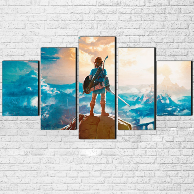 Modular Canvas Painting Wall Art Pictures Frame Living Room Decor 5 Pieces Legend Of Zelda