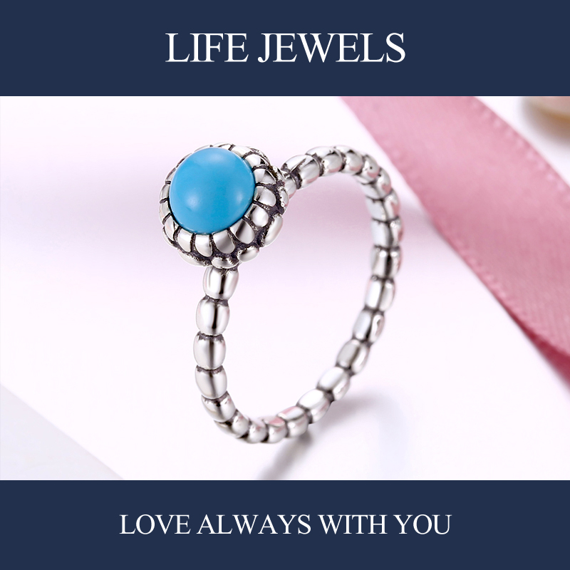Authentic 100 925 Sterling Silver Austria Zircon Turquoise Rings l Women Luxury Sterling Silver Valentine 39 s Day Gift Jewelry in Rings from Jewelry amp Accessories
