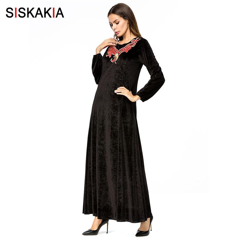 8bdf09d4f7 ... Siskakia Womens Velvet long Dress Chic Embroidery Maxi Dresses Black  Round Neck long Sleeve Elegant Dress ...