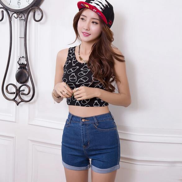 2017 Новая Мода женские джинсы Летом Высокой Талии Стрейч Джинсовые шорты Тонкий Корейских Случайные женские Джинсы Шорты шорты Плюс Размер S-XXXL