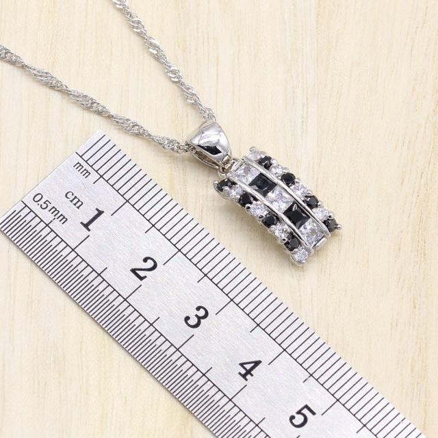 925 Sterling Silver Jewelry Sets Black Cubic Zircon Bracelet /Earrings/Pendant/Necklace/Ring Free Gift