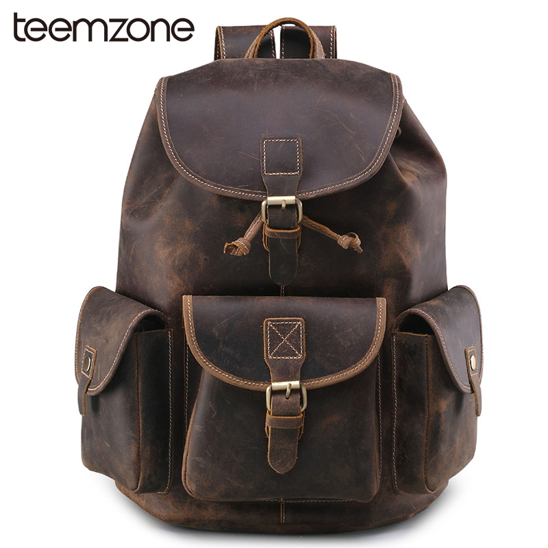 teemzone Hot Men Crazy Horse Leather Travel Backpacks for Laptop 11-12 Inch Notebook Computer Bags Men Backpack School Bag T8862