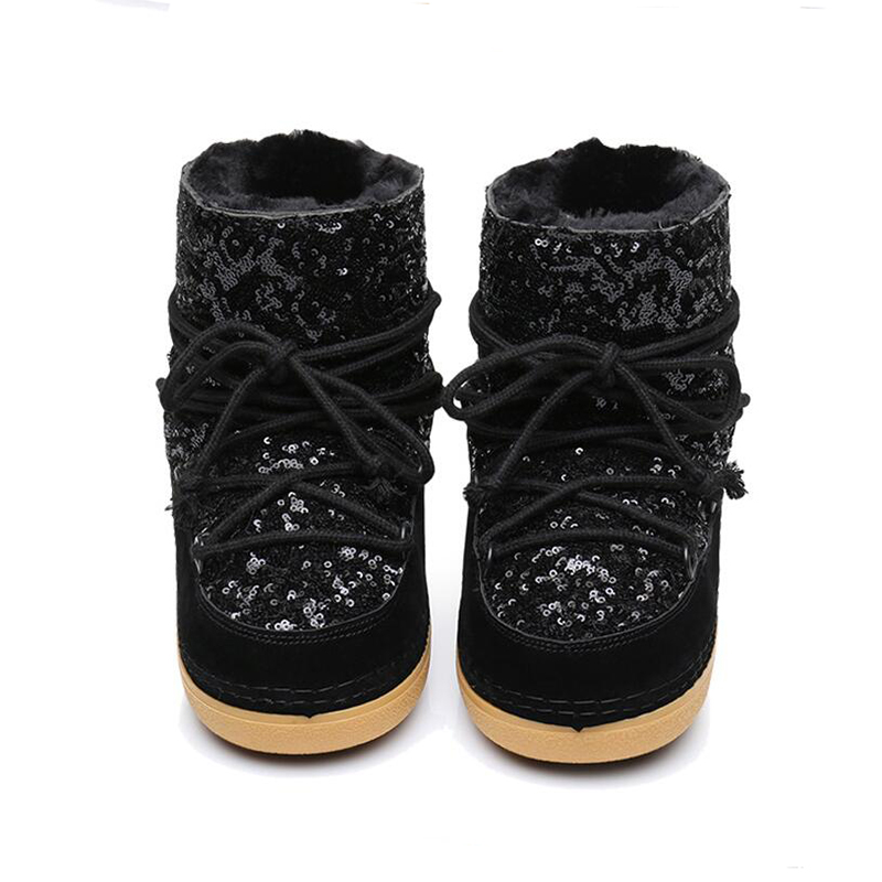 Kickway Algodón Invierno De Plataforma Mujeres Piel Fur Zapatos Bling Nieve Caliente Con Glitter Botas Boots Tela Lentejuelas Gruesa Tobillo khaki Las Black Plana wn7vTn