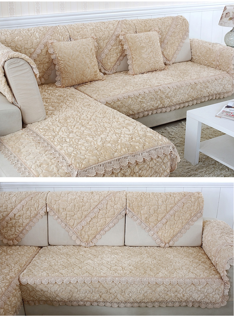 Thick Slip Resistant Couch Cover for Corner Sofa Made with Plush Fabric Including Lace for Living Room Decor 11