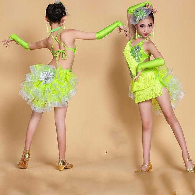 3a6fe6a2d € 34.62 45% de DESCUENTO|Nuevo traje de baile latino para niños, trajes de  baile latino para niñas, vestido para actuaciones de baile latino en ...