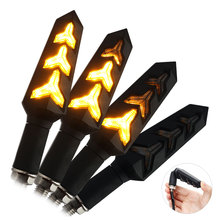4PCS Motorcycle LED Turn Signals Flowing Water Blinker Flashing Lights Built Relay Bendable Motorcycle Tail Flasher Indicator