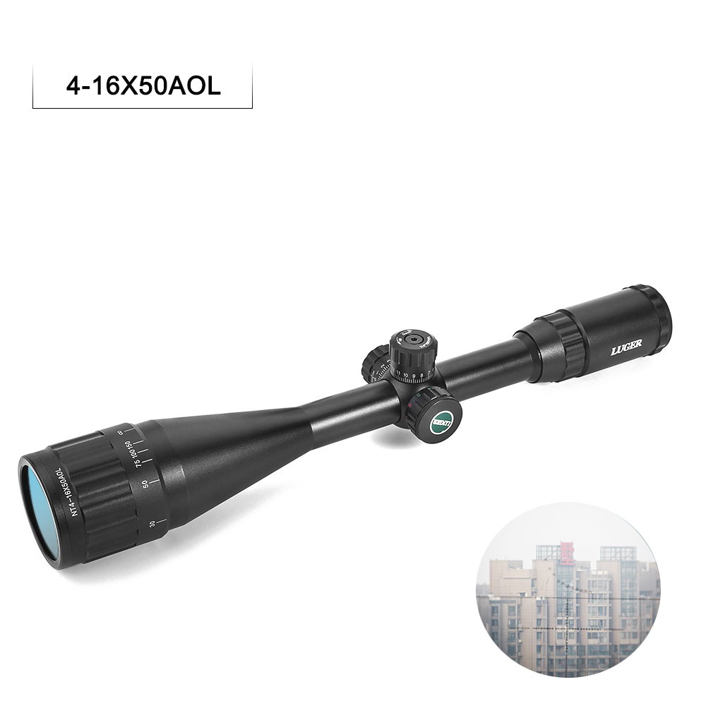 4-16X50AOL Rifle Scope With Locking Hunting Optical Sight Illuminated Mil-Dot RifleScope With Engraving C0.orrosion Reticle