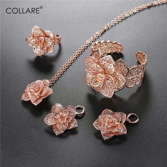 Collare פרח נשים חתונה כלה סט רוז זהב צבע תכשיטי כלה סטי שרשרת צמיד עגילי טבעת S237