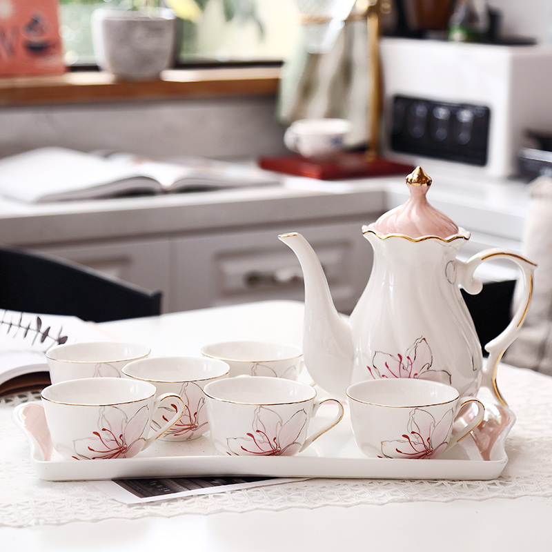 Top grade coffee cups set Ceramic decal parrten tea cups with tray pot British Porcelain teapot set Coffee Cup Wedding Gifts