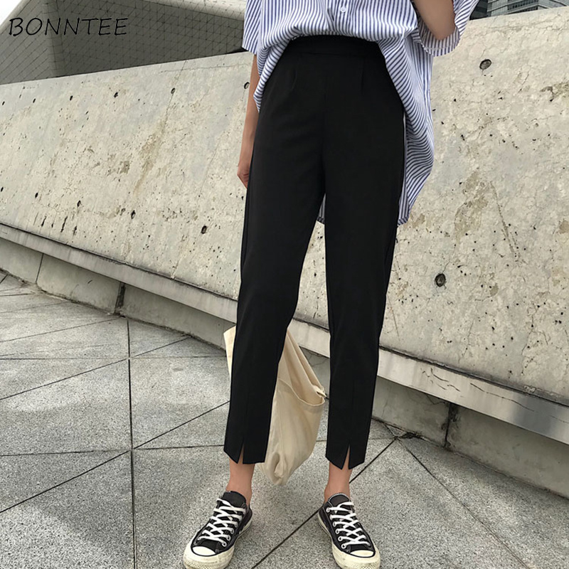 Pants Women Solid Chic Pockets Elastic Waist Ankle-Length Harem Trousers Student Korean Fashion Soft Womens All-match Simple