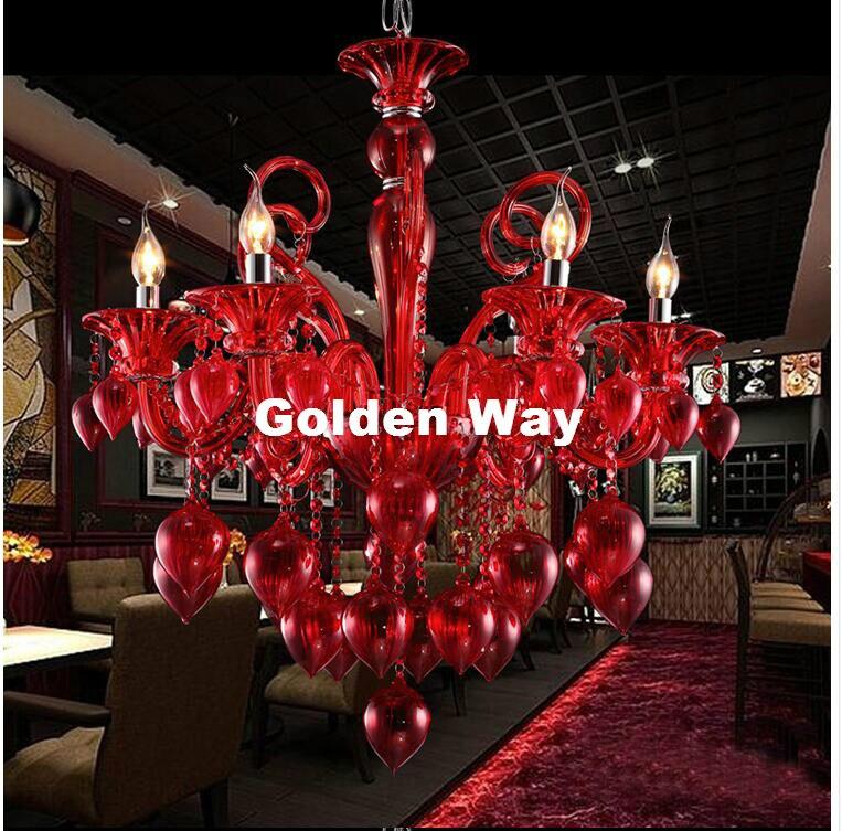Недавно современных 6l красочные люстра Лампы для мотоциклов Для Кофе магазин свадебных бар синий и красный цвета желтый Стекло шар лампы ук