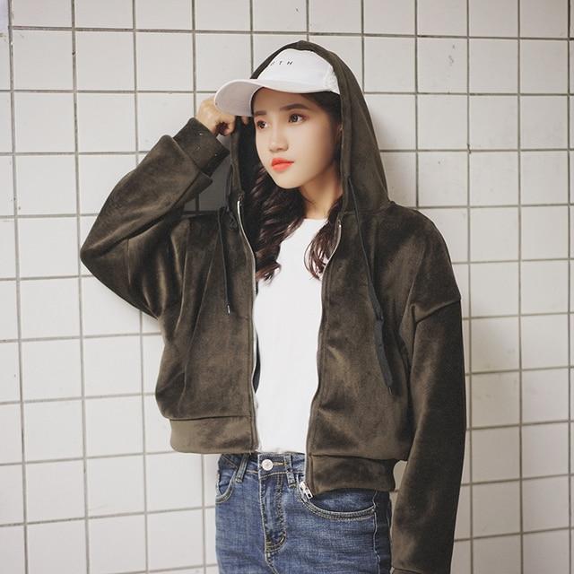 a1d12b2353c women s winter cardigan jackets female plus size golden velvet zipper pocket  solid hooded drawstring long sleeve