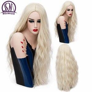 Image 1 - MSIWIGS 70 CM Uzun Pembe Dalgalı Peruk Cosplay Doğal Sentetik kadın Sarışın Peruk 29 Renkler Isıya Dayanıklı Saç