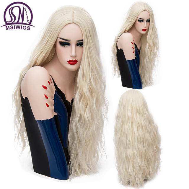 MSIWIGS 70 CM Uzun Pembe Dalgalı Peruk Cosplay Doğal Sentetik kadın Sarışın Peruk 29 Renkler Isıya Dayanıklı Saç