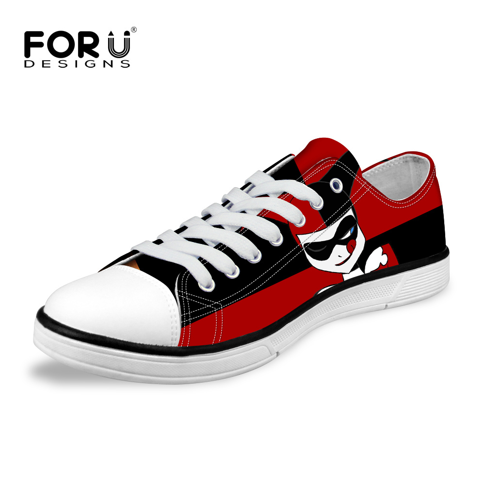 Women Casual Shoes Classic Low Style Canvas Shoes Funny Joker Harley Quinn Printed Vulcanize Shoes Lady
