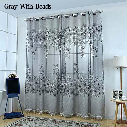 estampado floral romntica tul pura gasa cortina panel divisor de puerta cortina de