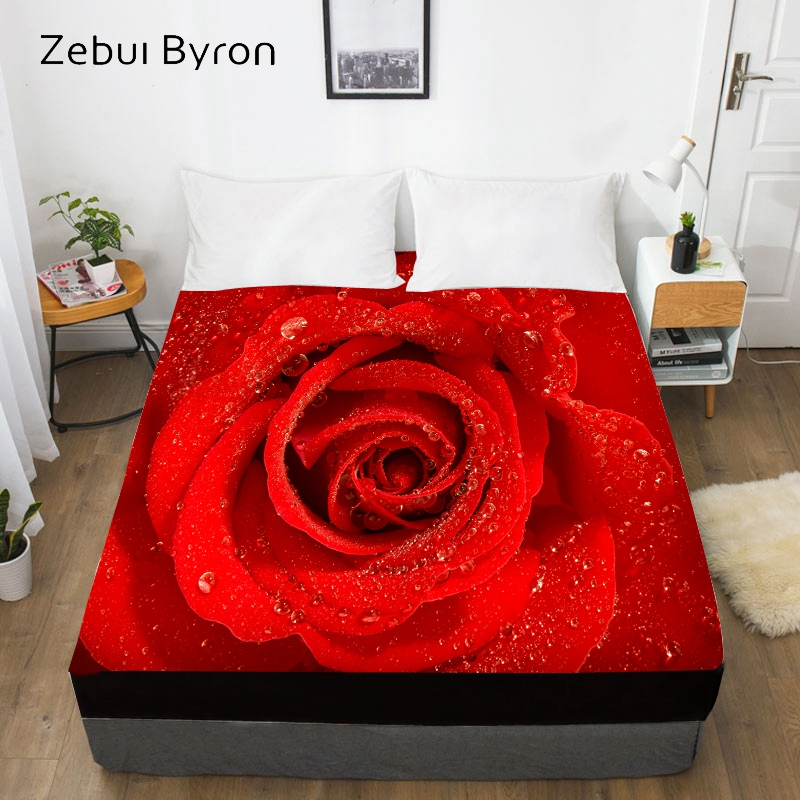 3D Custom Bed Sheet With Elastic,Fitted Sheet Queen/King,Mattress Cover for wedding Red Rose,200/150/160/180×200 bedsheet Sleeping bags & camp bedding cb5feb1b7314637725a2e7: Flower-01|Flower-02|Flower-03|Flower-04|Flower-05|Flower-06|Flower-07|Flower-08