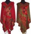Mulheres chinesas Pashmina e borboleta dupla face seda xale / envoltório do lenço vermelho / preto / roxo / azul