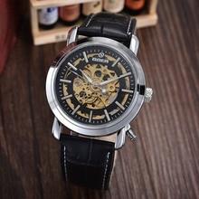 GOER бренд Мужской спортивные часы механические мужские автоматические наручные часы Моды водонепроницаемый кожа Световой Скелет
