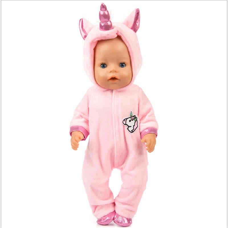 Fit 18 אינץ 43cm בובת בגדי נולד תינוק Unicorn חתלתול פוני בובת בגדי חליפת עבור תינוק יום הולדת פסטיבל מתנה