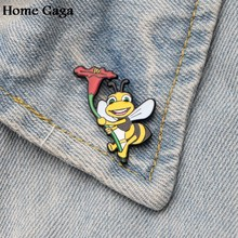 Homegaga funny bees Zinc pins para backpack pride clothes metal medal for bag shirt insignia badges brooches for men women D1209(China)