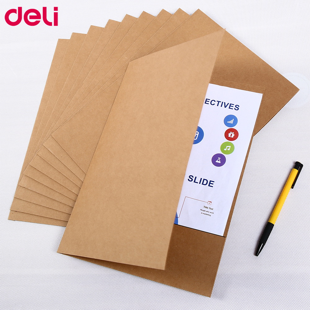 Deli 10pcs/Set Special Kraft Paper File Holder A4 Good Quality Protector paper Office Folder Protect Important Files Set