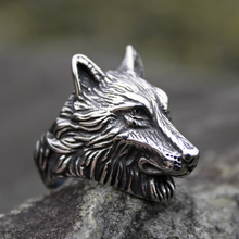 Silver Color 316L Stainless Steel Wild Wolf Biker Rings Mens Fashion Animal Jewelry Gift for Him