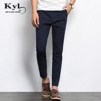 2018 Summer Designer Brand Casual Cotton Pants Male Ankle Length Pants Straight Leg Stretch Men S