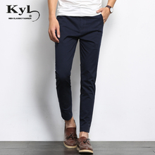 ФОТО 2018 summer designer brand casual cotton pants male ankle length pants straight leg stretch men's dress pants pant trousers