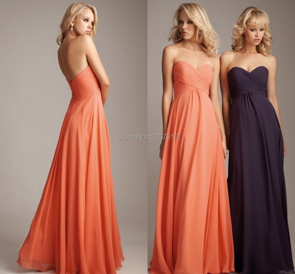 Online get cheap orange and purple bridesmaid dress aliexpress free shipping sweetheart bodice orange and dark purple peach color chiffon bridesmaid dress by designer cheap ombrellifo Image collections