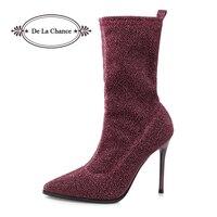 De La Oportunidad de Las Mujeres Rojo de La Boda Zapatos de Punta estrecha de Tacón Alto Botas Botines botas Zapatos de Mujer Botines Tacones Purpurina Plata Negro