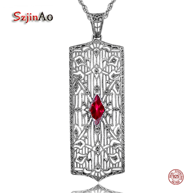 Szjinao 925 Sterling Silver Necklaces & Pendants For Women Elegant Flower Necklace Star Red Ruby Jewelry Bijoux Femme