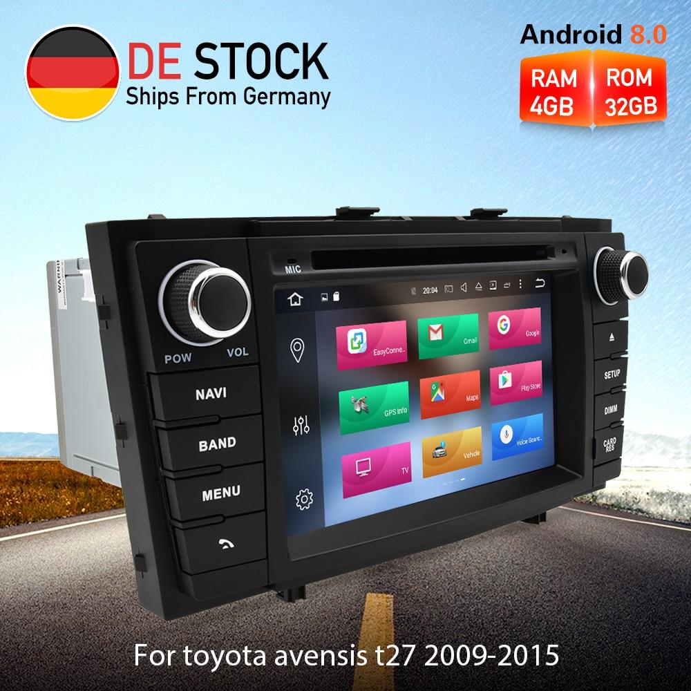 Octa Core Android 8.0 Autoradio Lettore DVD GPS di Navigazione Multimediale Per Toyota Avensis T27 2009-2015 Auto Audio stereo Unità Principale