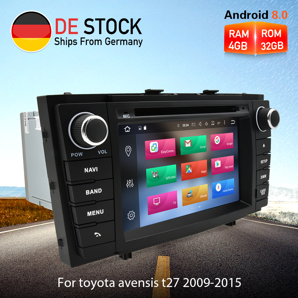 Octa base Android 8.0 Autoradio DVD GPS de Navigation Multimédia Lecteur Pour Toyota Avensis T27 2009-2015 Auto Audio stéréo Headunit