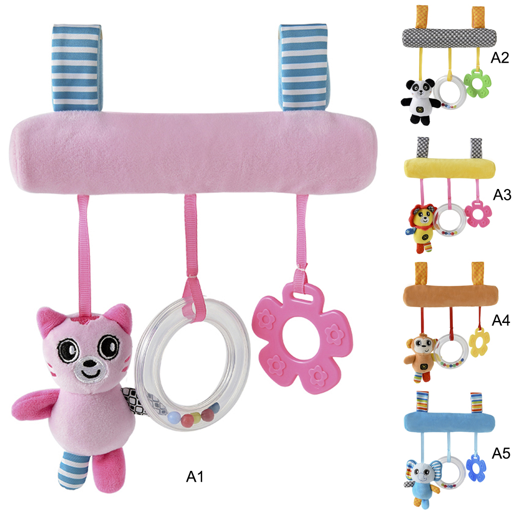 Cartoon Animal Baby Sound Hanging Car Bed Pendant Safety Seat Plush Kid Soft Toy Mobile Stroller Toys Plush Playing Doll